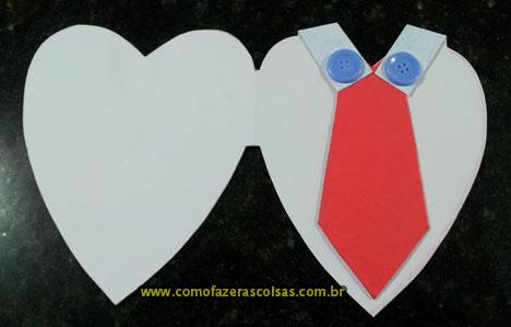 Cartão artesanal de coração para o dia dos pais