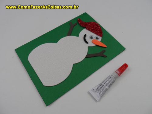 Cartão de natal do boneco de neve 07.