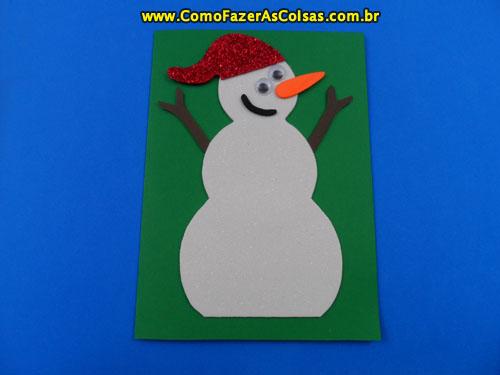 Cartão de natal do boneco de neve 08.