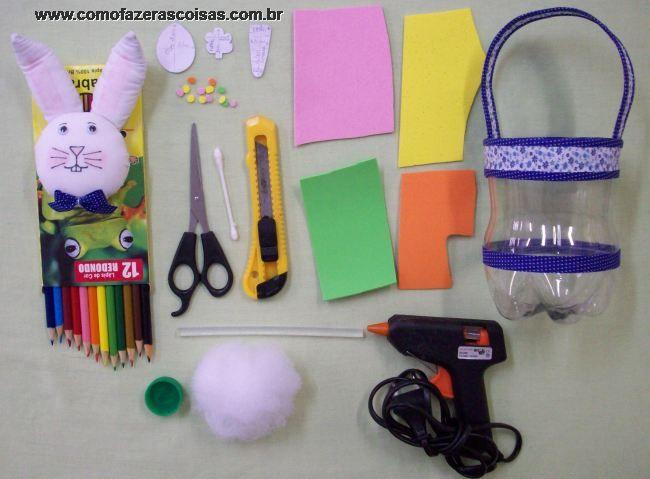 Materiais Para Fazer A Cestinha De Coelhinho Da P  Scoa