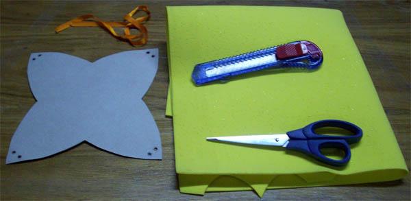 Material para fazer a cestinha de E.V.A